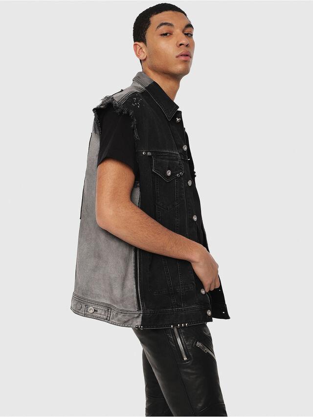 Diesel - D-VINNY-B, Black/Dark grey - Denim Jackets - Image 1