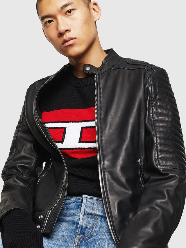 Diesel - L-SHIRO, Black Leather - Leather jackets - Image 4