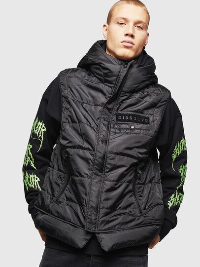 Diesel - W-SUN-REV-SLESS, Black - Winter Jackets - Image 1