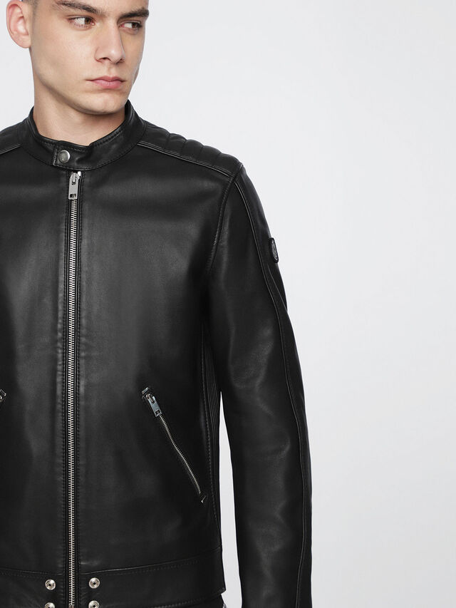 Diesel - L-QUAD, Black Leather - Leather jackets - Image 3