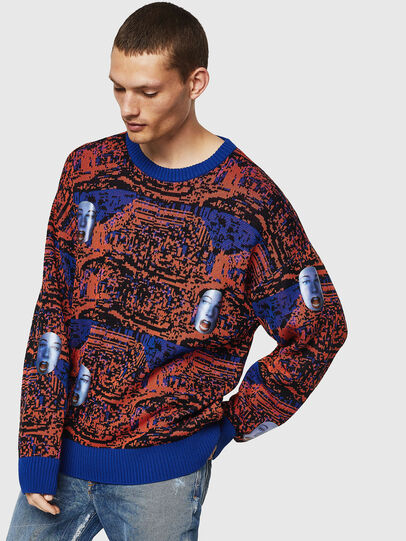 Diesel - K-FACE, Red/Blue - Knitwear - Image 1