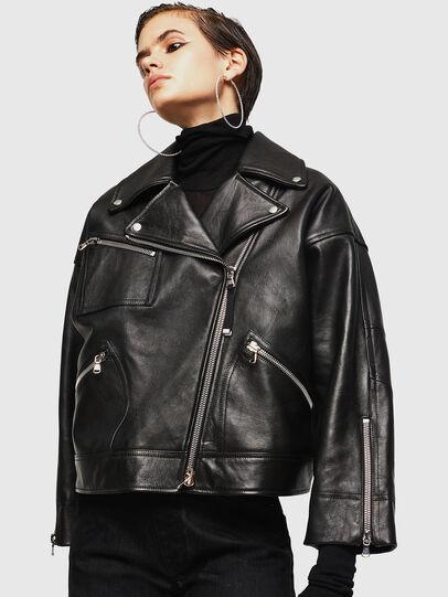 Diesel - LJESIV, Black - Leather jackets - Image 4
