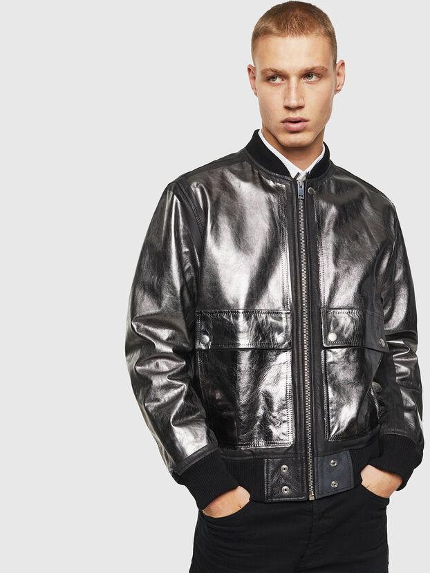 L-STEWARD-FOIL, Black - Leather jackets