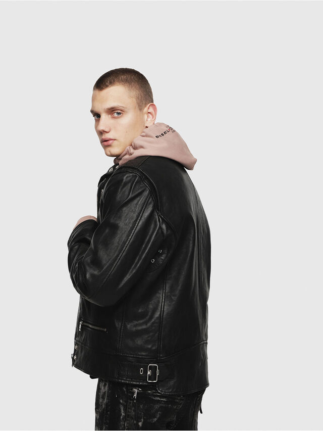 Diesel - L-KOJI, Black - Leather jackets - Image 3