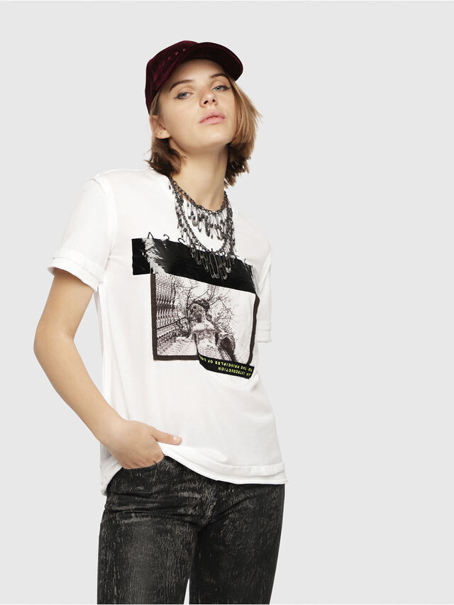 Diesel - T-SILY-WB, White/Black - T-Shirts - Image 1
