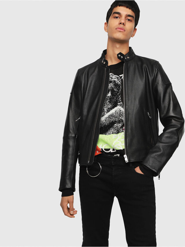 Diesel - L-RUSHIS, Black Leather - Leather jackets - Image 1