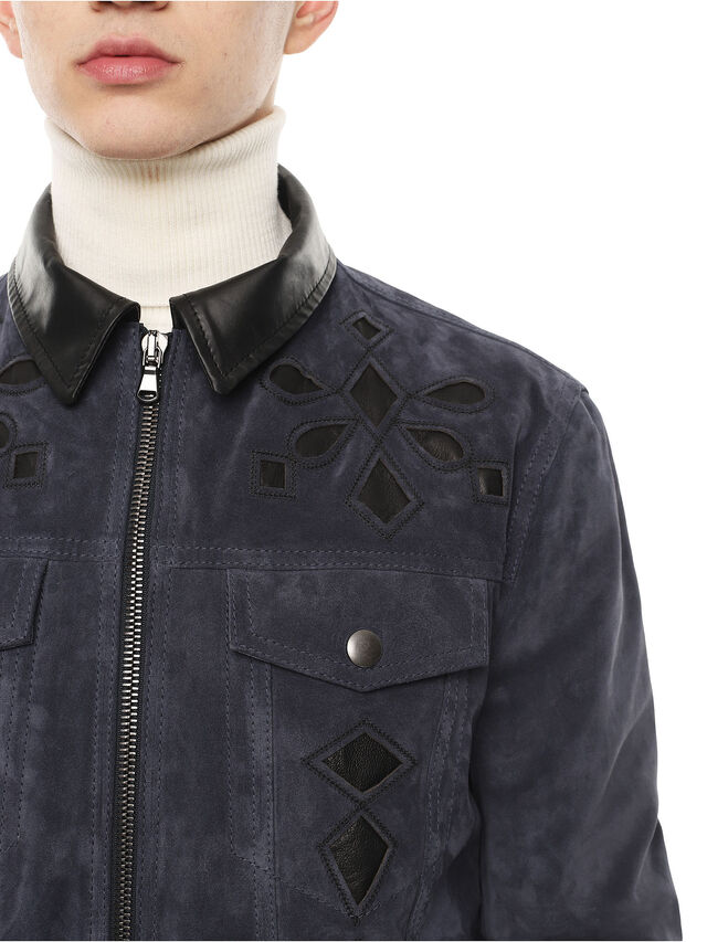 Diesel - LYRICH, Dark Blue - Leather jackets - Image 3