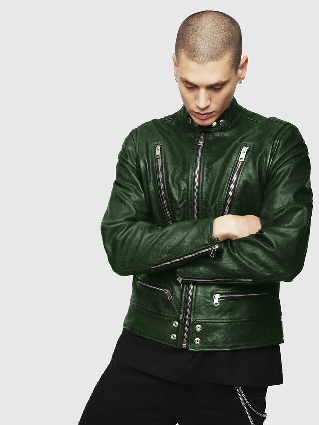 Diesel - L-KOJI, Green - Leather jackets - Image 4