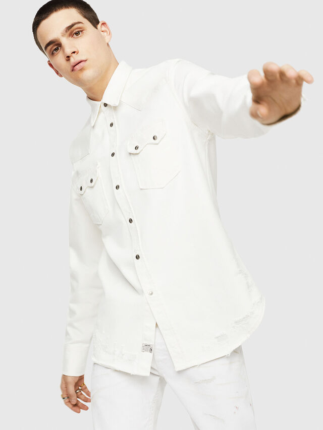 Diesel - D-LEO, White - Denim Shirts - Image 4