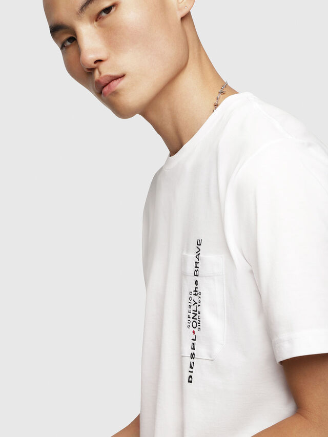 Diesel - T-JUST-POCKET, White - T-Shirts - Image 4