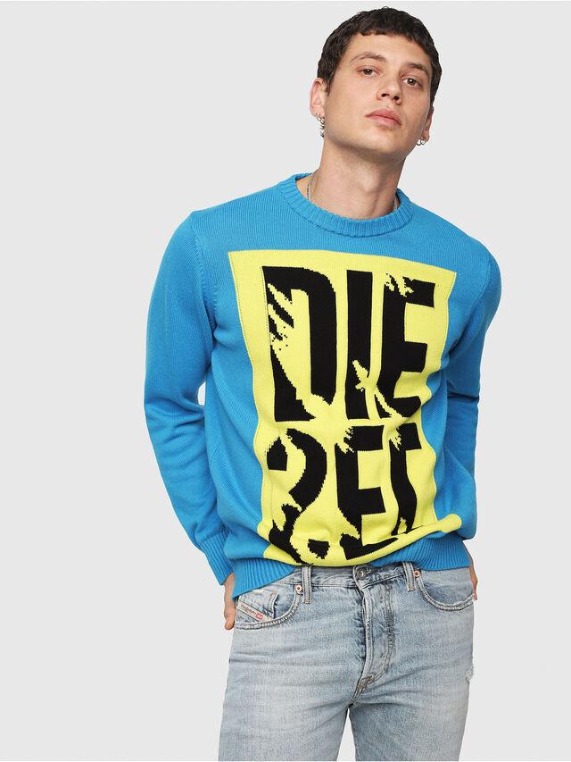 Diesel - K-MAXIS-A, Blue/Yellow - Knitwear - Image 1