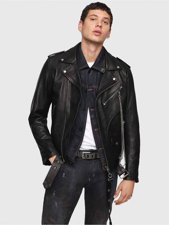 Diesel - CL-L-KIOV, Black Leather - Leather jackets - Image 1