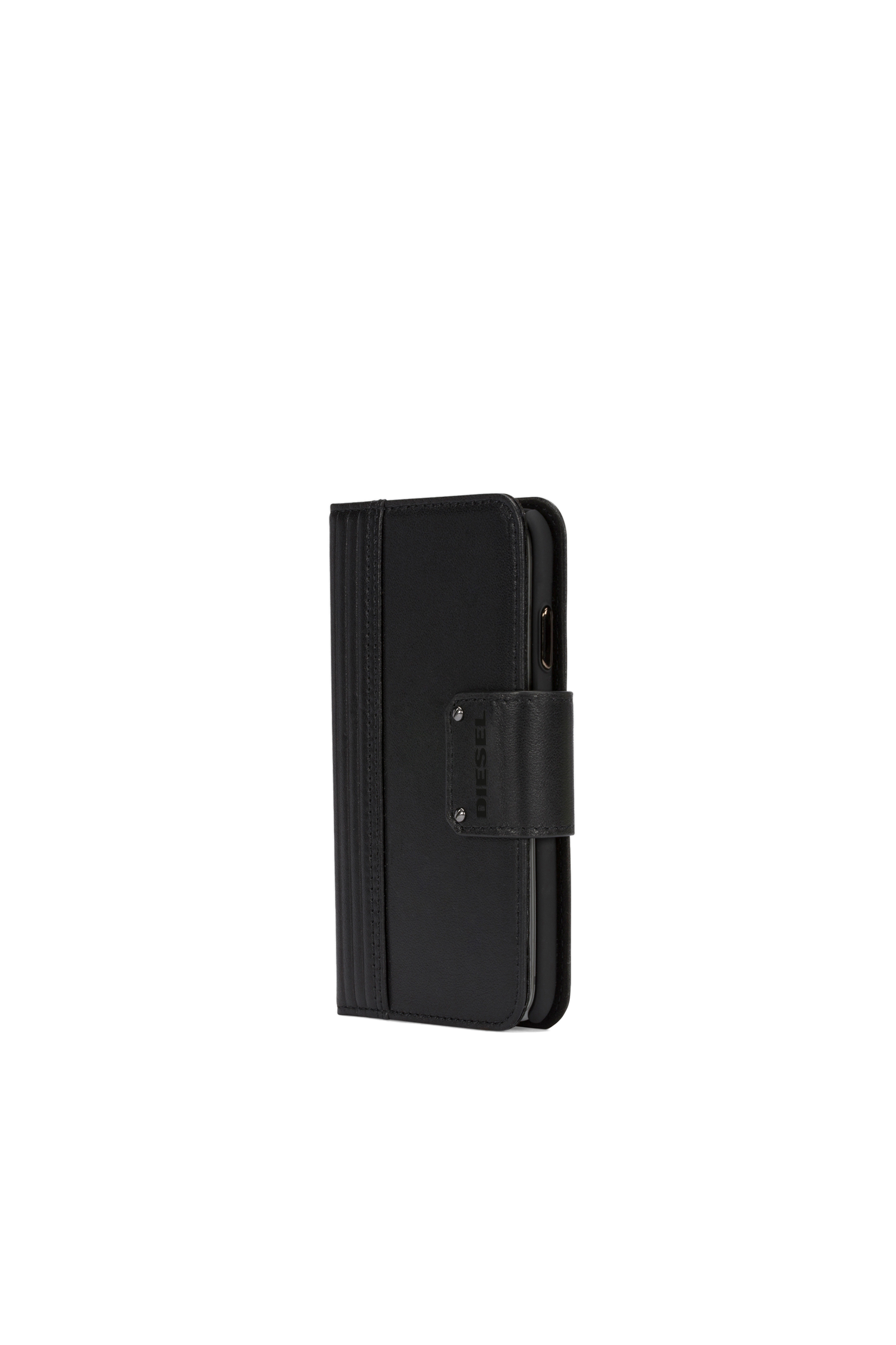 Diesel - BLACK LINED LEATHER IPHONE X FOLIO,  - Flip covers - Image 5