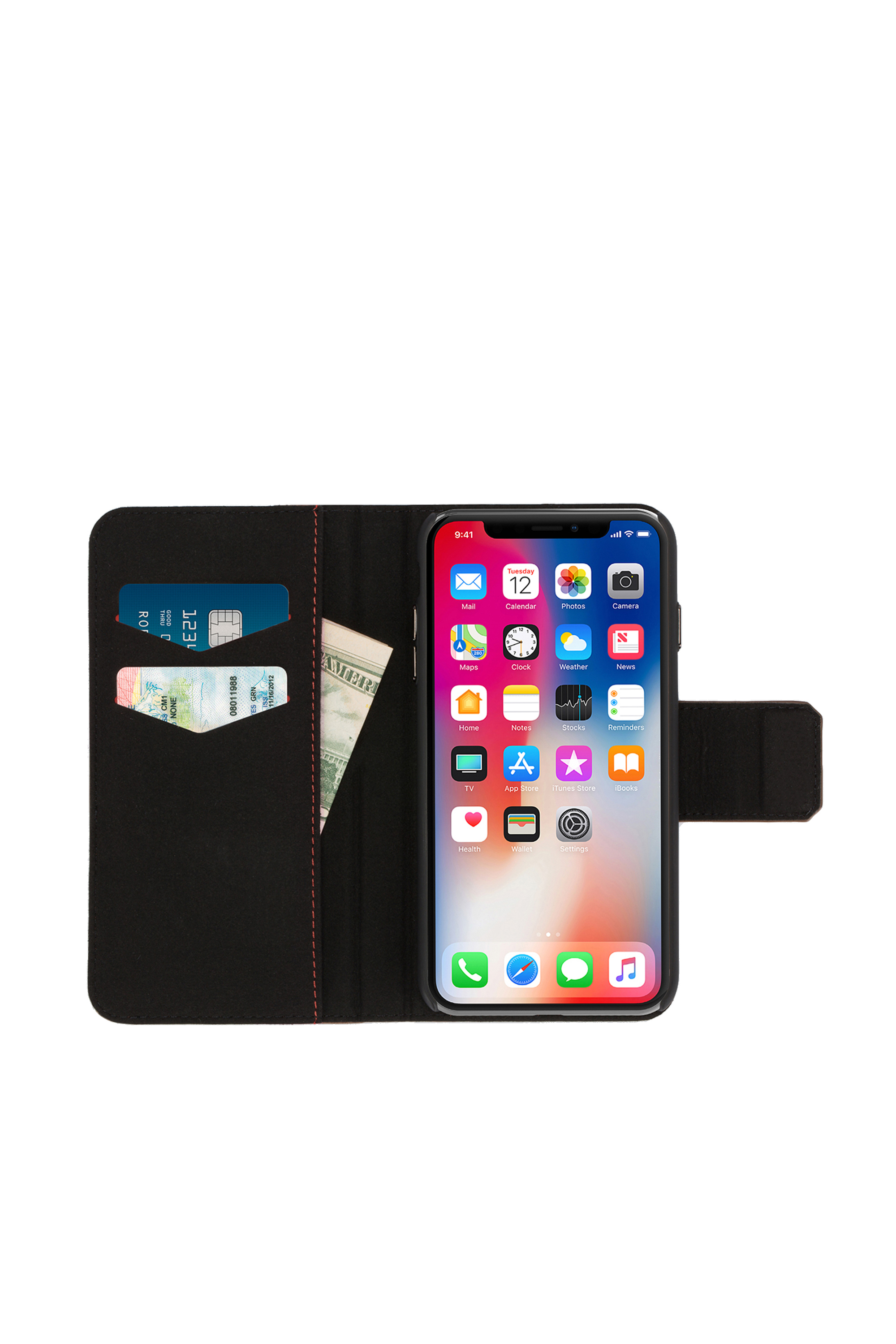 Diesel - BLACK LINED LEATHER IPHONE X FOLIO,  - Flip covers - Image 6